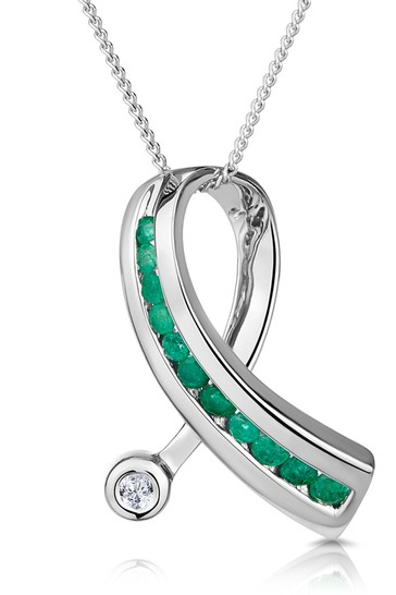 The Diamond Store Emerald And Diamond 0.02CT Ribbon Pendant Necklace in 9K White Gold