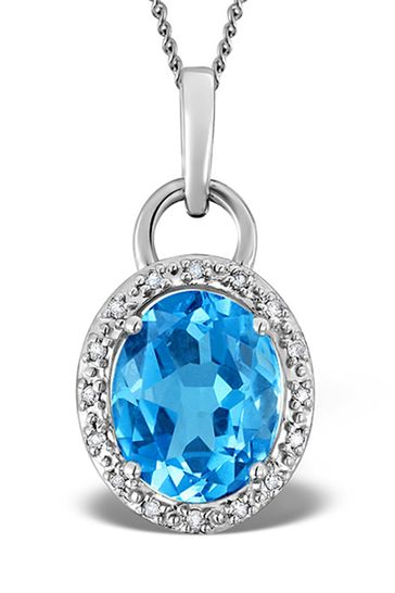 The Diamond Store Blue Topaz 2.96CT And Diamond Pendant Necklace in 9K White Gold