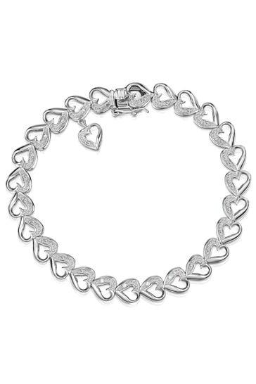 The Diamond Store White Heart Bracelet