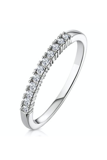 The Diamond Store White 0.15CT Half Eternity Ring Claw Set in 9K White Gold