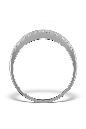 The Diamond Store Emerald And 0.56ct Diamond Eternity Ring in 9K White Gold