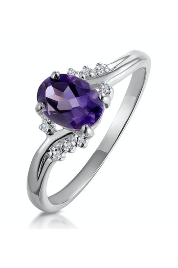 The Diamond Store Amethyst 0.68ct And Diamond Ring in 9K White Gold