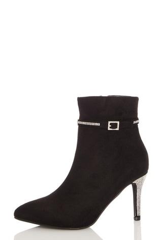 Quiz Black Faux Suede Pointed Toe Diamante Buckle Stiletto Heel Ankle Boot