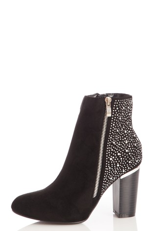Quiz Black Faux Suede Studded Ankle Boot