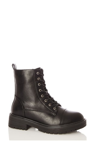 Quiz Black Faux Leather Lace Up Military Boot