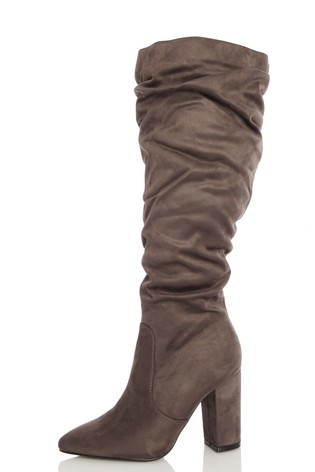 Quiz Grey Wide FIt Faux Suede Rouched Boot