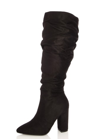 Quiz Black Wide FIt Faux Suede Rouched Boot