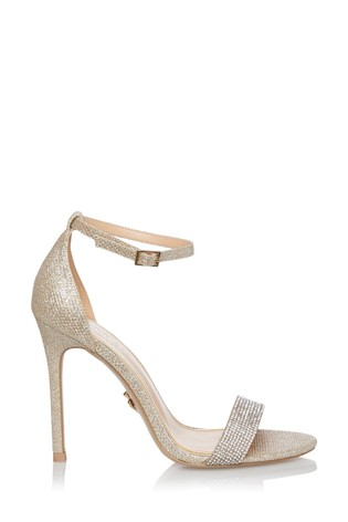 Lipsy Gold Diamanté  Strap Heeled Sandals