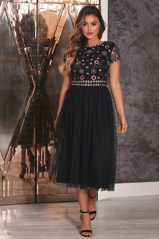Sistaglam Skater Prom 2 In 1 Midi Dress With Floral Beaded Top
