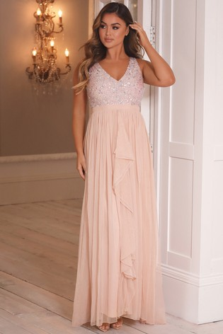 Sistaglam Pink V neck Maxi Dress With Sequin Top