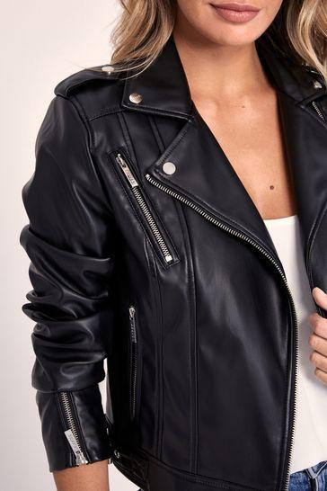 Abbey Clancy x Lipsy Petite Faux Leather Biker Jacket