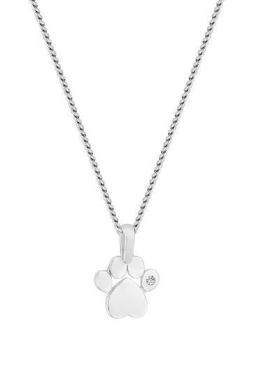 Simply Silver Sterling Silver Paw Print Pendant
