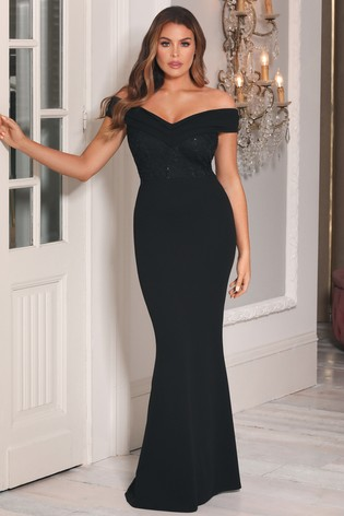Sistaglam Loves Jessica Lace Top Bardot 2-In-1 Maxi Dress