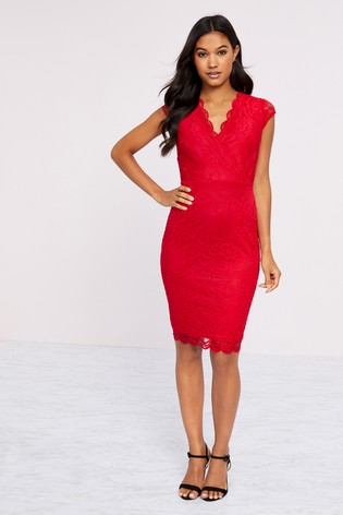 Lipsy Red Short Sleeve Lace Bodycon Dress