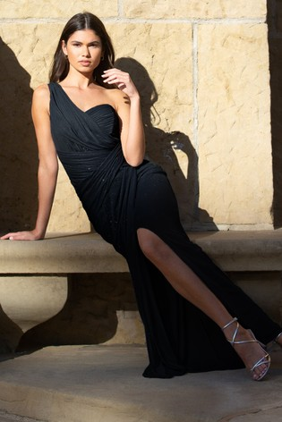 Abbey Clancy x Lipsy One Shoulder Glitter Ruched Maxi Dress