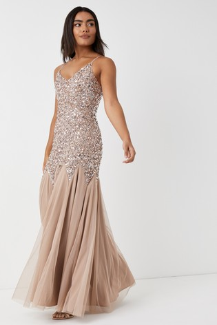 Maya Brown Sequin Fishtail Maxi Dress