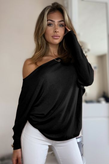 Lipsy Black Slash Neck Top