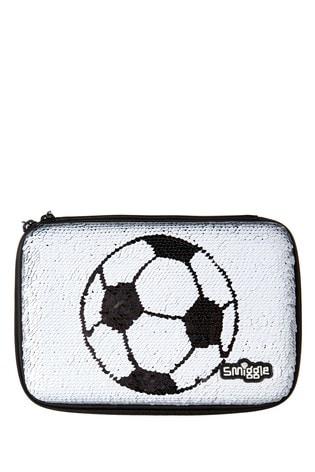 Smiggle Monochrome Goal Hardtop Football Print Pencil Case