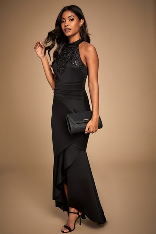 Lipsy Petite Halter Cornelli Sequin Maxi Dress