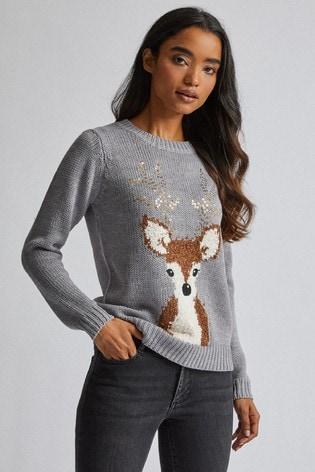 Dorothy Perkins Petite Sequin Antler Reindeer Jumper