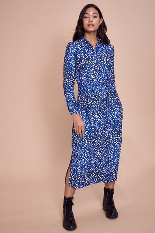 Lipsy Blue Midi Shirt Dress