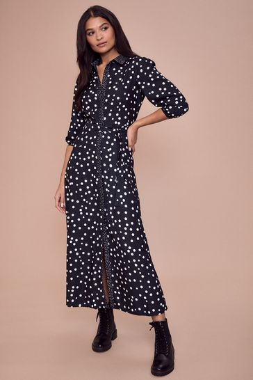 Lipsy Animal Print Maxi Shirt Dress