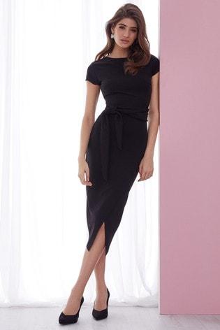 Lipsy Black Petite Self Tie Bodycon Dress