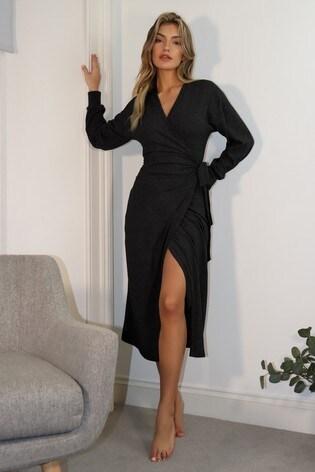 Lipsy Black Cosy Wrap Midaxi Dress