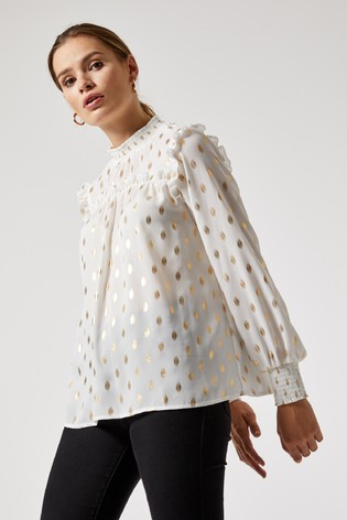 Dorothy Perkins Foil Short Sleeve Ruffle Shirt