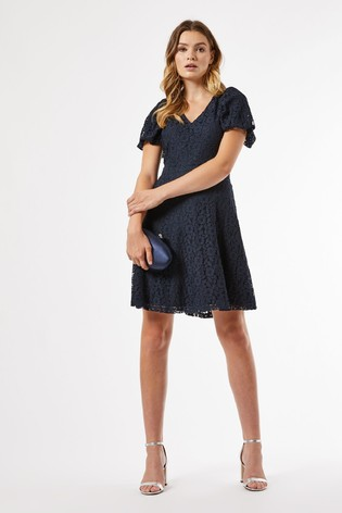 Dorothy Perkins Navy V Neck Lace Fit And Flare Dress