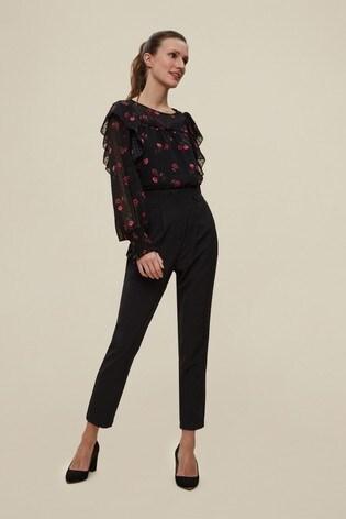 Dorothy Perkins Black High Button Trouser