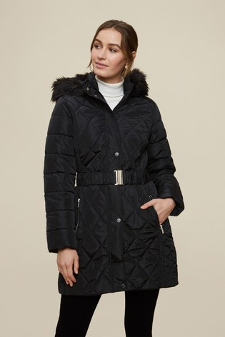 Dorothy Perkins Black Long Luxe Quilted Coat