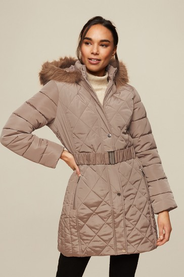 Dorothy Perkins Grey Long Luxe Quilted Coat
