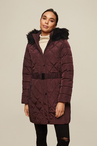 Dorothy Perkins Red Long Luxe Quilted Coat