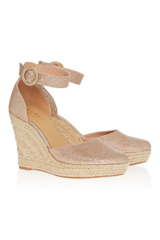 Lipsy Gold  Covered Buckle Wedge