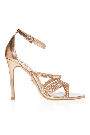Lipsy Rose Gold Diamanté Cross Strap Heeled Sandal