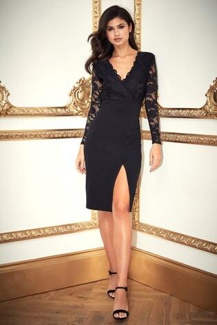 Lipsy Petite Lace Top Midi Dress