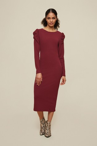 Dorothy Perkins Red Tall Ruched Sleeve Bodycon Dress