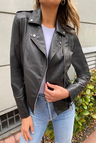 Lipsy Black Quilted Leather Jacket