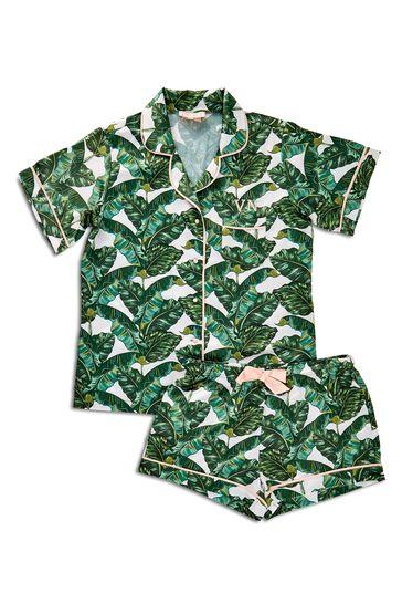 Personalised Sleep Satin Luxe Short Sleeve Pyjama Set by HA Designs