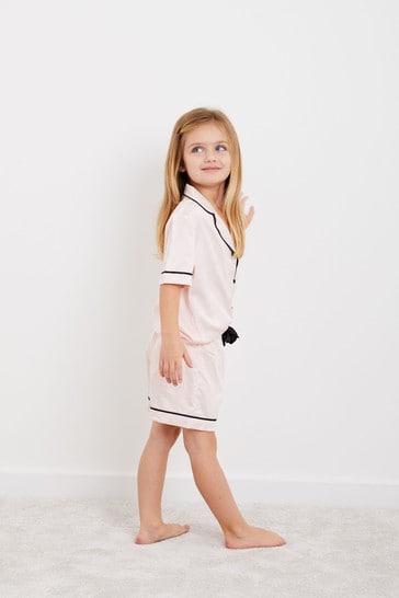 Personalised Mini Childrens Satin Short Sleeve Pyjama Set by HA Designs