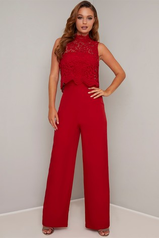 Chi Chi London Lace Overlay Wide Leg Jumpsuit