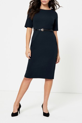 Dorothy Perkins Navy Belted Pencil Dress