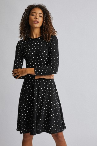 Dorothy Perkins Tall Spot Ruffle Fit And Flare Dress