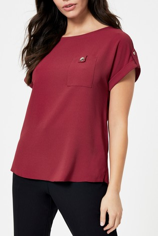 Dorothy Perkins Burgundy Button Pocket Tee