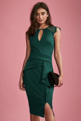 Lipsy Green Eyelash Lace Wrap Frill Dress