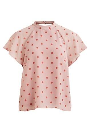 Vila Polka Dot Short Sleeved Blouse