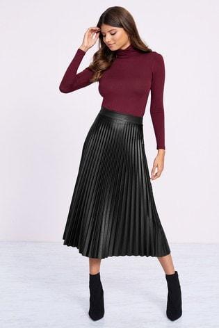 Lipsy PU Pleated Midi Skirt