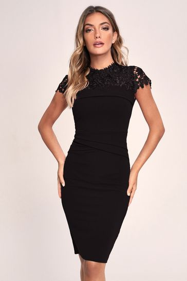 Lipsy Black Lace Pleated Bodycon Dress