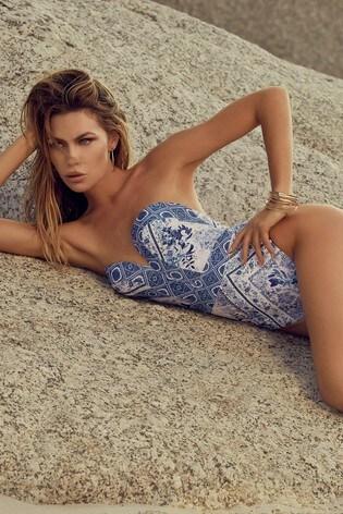 Abbey Clancy x Lipsy Blue Sweetheart Swimsuit